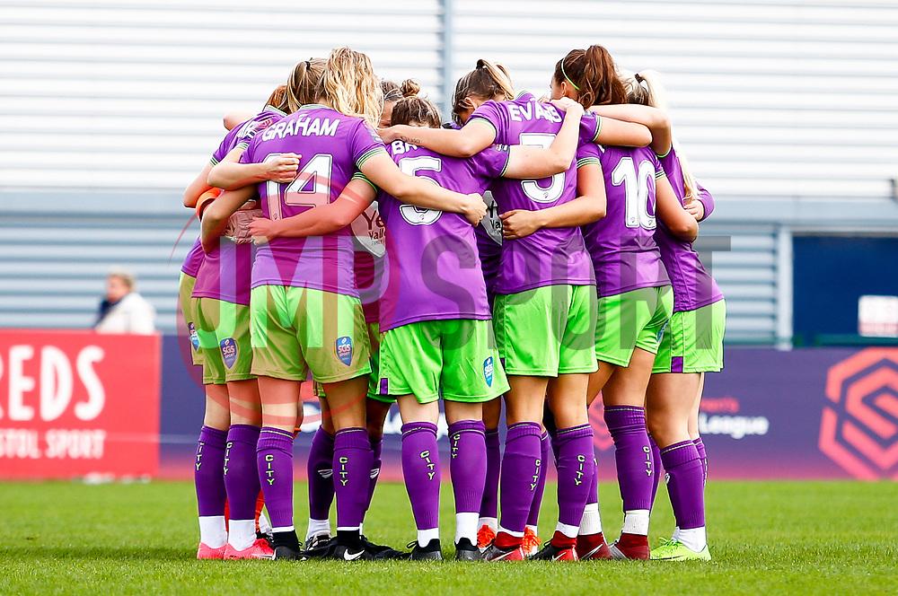 Bristol City Women huddle prior to kick off - Mandatory by-line: Ryan Hiscott/JMP - 14/10/2018 - FOOTBALL - Stoke Gifford Stadium - Bristol, England - Bristol City Women v Birmingham City Women - FA Women's Super League 1