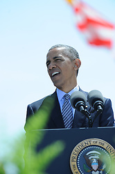 President Obama giving the address at the Coast Guard Academy in May of 2016