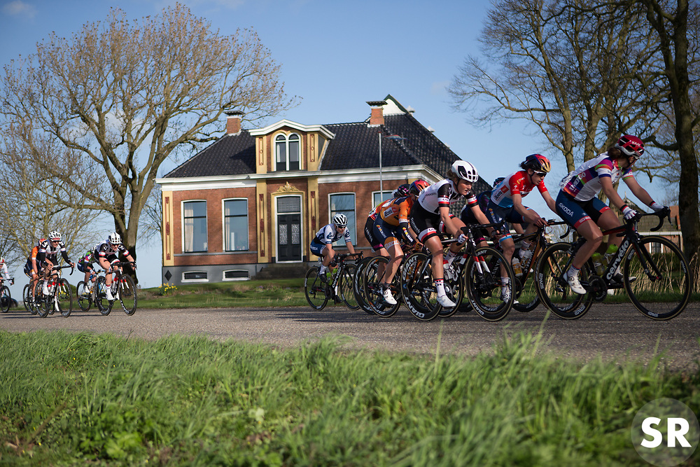 Floortje Mackaaij (NED) of Team Sunweb stays near the front in the penultimate lap of Stage 1b of the Healthy Ageing Tour - a 77.6 km road race, starting and finishing in Grijpskerk on April 5, 2017, in Groeningen, Netherlands.