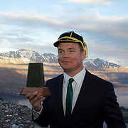 """Brian O""""Driscoll shows off his Irish cap and the gift presented to the Irish team  during the  Civic welcome for the Irish team at Skyline.  Queenstown, New Zealand, 4th September 2011. Photo Tim Clayton.."""