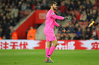 Football - 2018 / 2019 Premier League - Southampton vs. Liverpool<br /> <br /> Alisson of Liverpool throws off one of the bottles thrown onto the pitch after Liverpools third goal at St Mary's Stadium Southampton<br /> <br /> COLORSPORT/SHAUN BOGGUST
