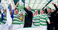 24/05/15 SCOTTISH PREMIERSHIP<br /> CELTIC v INVERNESS CT<br /> CELTIC PARK - GLASGOW<br /> Celtic manager Ronny Deila celebrates with the Scottish Premiership trophy<br /> ** ROTA IMAGE - FREE FOR USE **