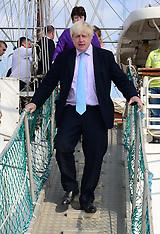 SEP 08 2014 Boris Johnson visits the TS Tenacious tall ship