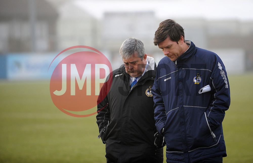 Bristol Rovers Manager, Darrell Clarke with chairman Nick Higgs - Photo mandatory by-line: Neil Brookman/JMP - Mobile: 07966 386802 - 04/01/2015 - SPORT - football - Nuneaton - James Parnell Stadium - Nuneaton Town v Bristol Rovers - Vanarama Conference