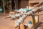 Fish are sun dried to preserve at a Tonga fishing village on Lake Kariba, Zimbabwe