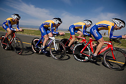 The Fort Lewis College team of Ian Burnett, Alister Ratcliff, Ben Sonntag, Lee Rosenthal, Jesse Dekrey, and Joey Thompson competes in the men's division 1 race.  The 2008 USA Cycling Collegiate National Championships Team Time Trial event was held near Wellington, CO on May 9, 2008.  Teams of 3 or 4 riders raced over a 20km out and back course that ran along a service road to Interstate 25.