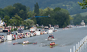 Henley on Thames, England, United Kingdom, Sunday, 07.07.19, Oxford Brookes University A (foreground) and <br /> Hollandia Roeiclub, Netherlands, NED,  (background), passing the 1 1/4 Mile Post in the Final, of The Ladies' Challenge Plate,Henley Royal Regatta,  Henley Reach, [©Karon PHILLIPS/Intersport Images]<br /> <br /> 13:16:33 1919 - 2019, Royal Henley Peace Regatta Centenary,