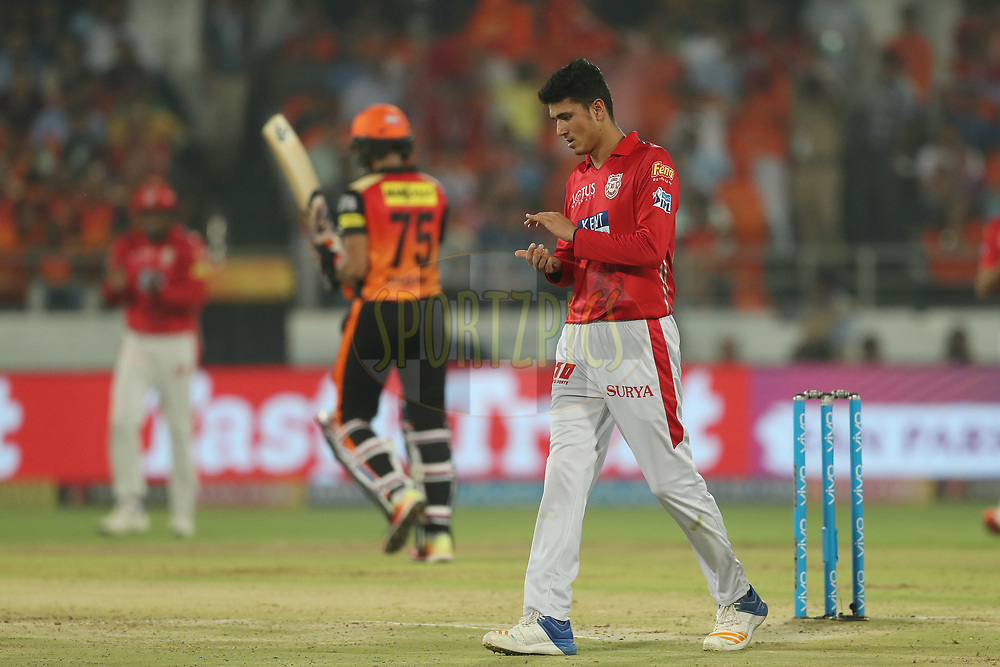 Mujeeb Zadran of the Kings XI Punjab celebrates the wicket of Shakib Al Hasan of the Sunrisers Hyderabad during match twenty five of the Vivo Indian Premier League 2018 (IPL 2018) between the Sunrisers Hyderabad and the Kings XI Punjab  held at the Rajiv Gandhi International Cricket Stadium in Hyderabad on the 26th April 2018.<br /> <br /> Photo by: Ron Gaunt /SPORTZPICS for BCCI