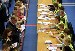 © Licensed to London News Pictures.  08/06/2017; Bristol, UK. General Election 2017; The election count of votes from the ballot boxes at City of Bristol Academy for Bristol West and Bristol East seats. Picture credit : Simon Chapman/LNP