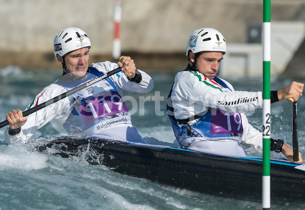 Pietro Camporesi and Niccolo Ferrari of Italy compete in the C2 during the ICF Canoe Slalom World Championship 2015 at Lee Valley White Water Centre, London, United Kingdom on 19 September 2015. Photo by Vince  Mignott.
