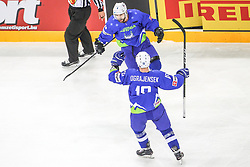 Aleksandar Magovac of Slovenia and Ken Ograjensek of Slovenia celebrate after first goal of Slovenia during Ice Hockey match between National Teams of Hungary and Slovenia in Round #3 of 2018 IIHF Ice Hockey World Championship Division I Group A, on April 25, 2018 in Arena Laszla Pappa, Budapest, Hungary. Photo by David Balogh / Sportida