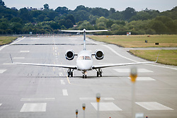 © Licensed to London News Pictures. 04/08/2020. London, UK. An Aviation Embraer Legacy 600 G-THFC (Tottenham Hotspur Football Club) belonging to Tottenham chairman Daniel Levy, is seen taking off from RAF Northolt in London shortly after QUEEN ELIZABETH II and PRINCE PHILIP arrived at the airport to travel to Balmoral. Photo credit: Ben Cawthra/LNP