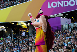 London, August 10 2017 . Hero the Hedgehog entertains the crowd on day seven of the IAAF London 2017 world Championships at the London Stadium. © Paul Davey.