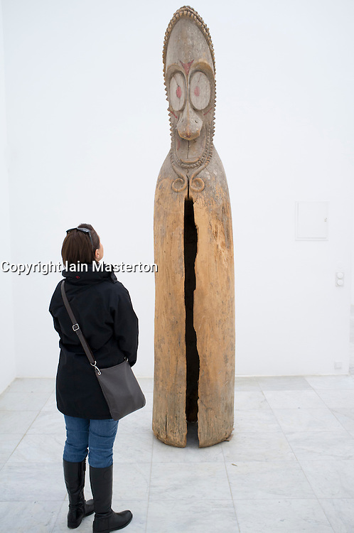 Woman looking at Sculpture in Kulturraum or Culture room at Museum Hombroich at Neuss in Germany