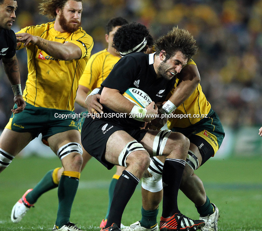 Sam Whitelock tackled by Sitaleki Timani<br /> International Test rugby union match, Australia v New Zealand, Sydney, Australia. Saturday 18 August 2012. Photo: Paul Seiser/PHOTOSPORT
