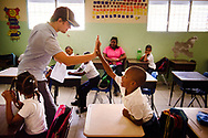 James Krey teaches english in the school on the first floor of the Concordia Reformer Lutheran Seminary and Mercy Center in Palmar Arriba, Dominican Republic, on Wednesday, Oct. 18, 2017. LCMS Communications/Erik M. Lunsford