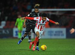Tyrone Marsh of Macclesfield Town applies pressure on Jacob Maddox of Cheltenham Town - Mandatory by-line: Nizaam Jones/JMP- 26/01/2019 - FOOTBALL - LCI Rail Stadium -Cheltenham, England - Cheltenham Town v Macclesfield Town - Sky Bet League Two