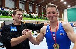 Farewell of Slovenian athlete Aljaz Pegan (with Mitja Petkovsek at Left) at his last competition in his sports career during Slovenian Gymastics Cup 2013 on June 2, 2013 in GIB arena, Ljubljana, Slovenia. (Photo By Vid Ponikvar / Sportida)