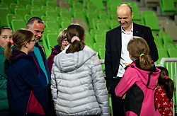Jure Zdovc, coach of Petrol Olimpija with young fans after the basketball match between KK Petrol Olimpija and KK Krka in Round #6 of Liga Nova KBM za prvaka 2018/19, on April 5, 2019, in Arena Stozice, Ljubljana, Slovenia. Photo by Vid Ponikvar / Sportida
