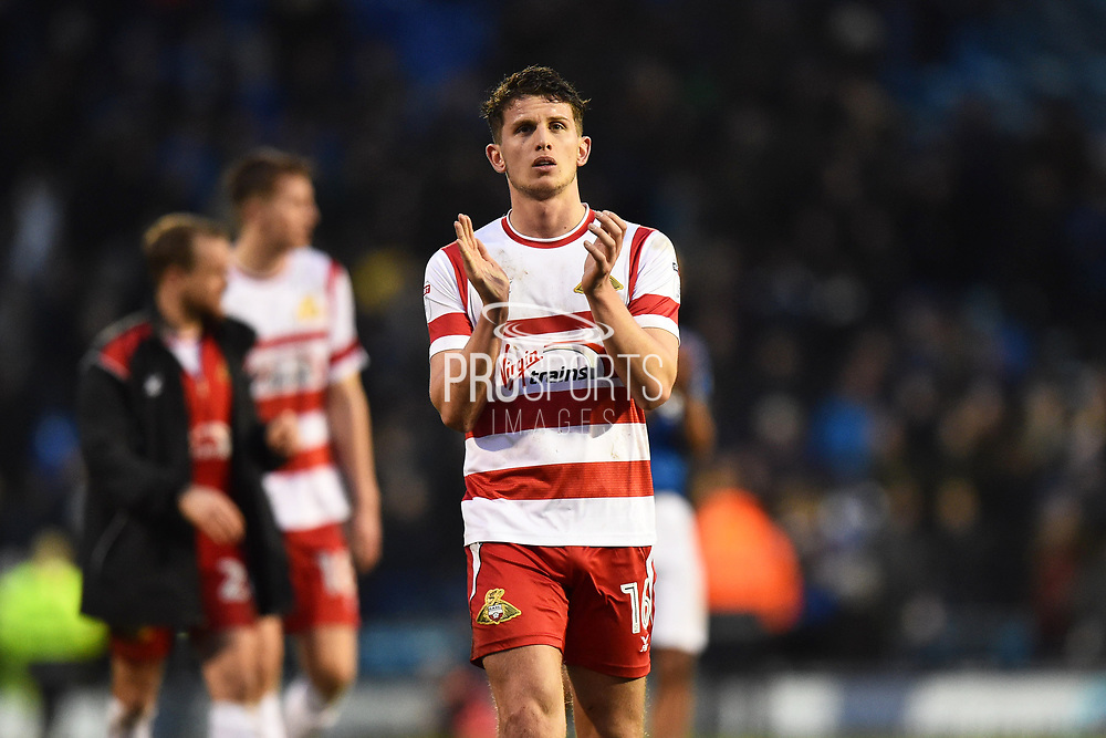 Jordan Houghton (16) of Doncaster Rovers applauds, claps the travelling fans at full time after a 2-2 draw during the EFL Sky Bet League 1 match between Portsmouth and Doncaster Rovers at Fratton Park, Portsmouth, England on 3 February 2018. Picture by Graham Hunt.