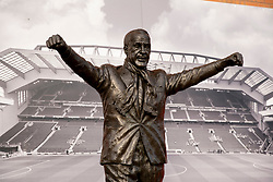 LIVERPOOL, ENGLAND - Tuesday, March 17, 2020: A statue of former Liverpool manager Bill Shankly at Anfield, home of Champions-elect Liverpool Football Club, pictured after the suspension of all football due to the Coronavirus (COVID-19) and Liverpool's decision to close it's Boot Room cafe and official stores. (Pic by David Rawcliffe/Propaganda)
