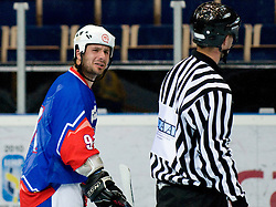 Denis Kadic of Slovenia talks to the referee about the call at Game 8 of IIHF In-Line Hockey World Championships Top Division Group match between National teams of Sweden and Slovenia on June 29, 2010, in Karlstad, Sweden. (Photo by Matic Klansek Velej / Sportida)