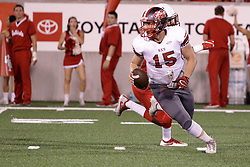 NORMAL, IL - September 01: Alex Martinez flushed from the passing pocket during a college football game between the ISU (Illinois State University) Redbirds and the Saint Xavier Cougars on September 01 2018 at Hancock Stadium in Normal, IL. (Photo by Alan Look)