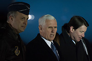 U.S. Vice President Mike Pence welcomed upon arrival at Yokota Air Base in Fussa, on the outskirts of Tokyo, Japan, February 6, 2018. 06/02/2018-Fussa, JAPAN