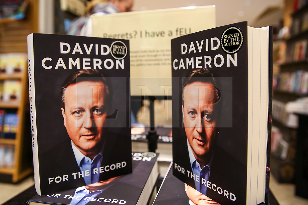"""© Licensed to London News Pictures. 19/09/2019. London, UK. Signed copies of """"For The Record"""" - the autobiography of Britain's former Prime Minister David Cameron on display in Waterstones book store in central London. Since his resignation in 2016, David Cameron has remained all-but silent on his time in office. In For the Record he finally breaks that silence. Photo credit: Dinendra Haria/LNP"""