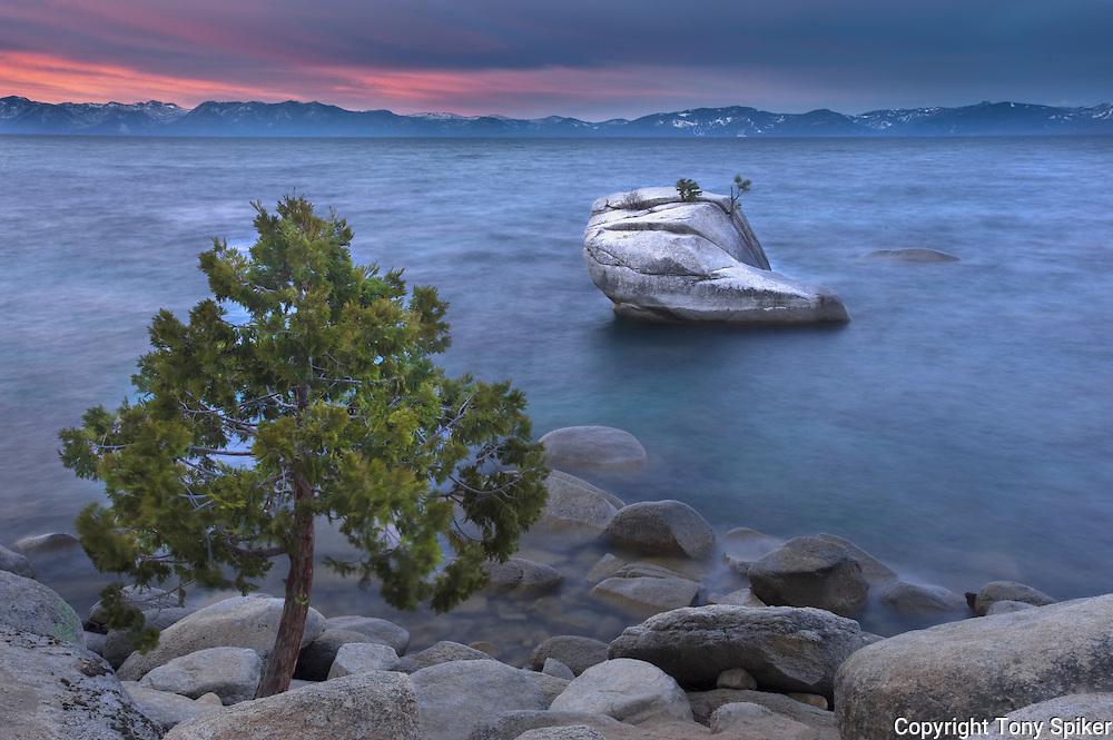 """""""Bonsai Rock Sunrise 3"""" - The sun rises over Bonsai Rock on Lake Tahoe's Eastern shore."""