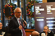 Karl McDonnell, CEO of Strayer Education, makes opening remarks at The WSJ The Future Of:Education featuring ROGER FERGUSON, President and CEO of TIAA, in New York City on December 12, 2017. (photo by Gabe Palacio)