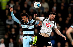 James Perch of Queens Park Rangers and David Nugent of Derby County challenge for a header - Mandatory by-line: Robbie Stephenson/JMP - 31/03/2017 - FOOTBALL - iPro Stadium - Derby, England - Derby County v Queens Park Rangers - Sky Bet Championship