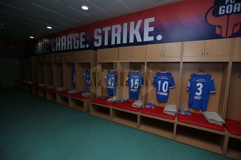 Dressing room during match 2 of the Indian Super League (ISL) season 2  between FC Goa and Delhi Dynamos FC held at the Jawaharlal Nehru Stadium, Goa, India on the 4th October 2015.<br /> <br /> Photo by Sandeep Shetty/ ISL/ SPORTZPICS