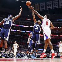 12 April 2016: Memphis Grizzlies guard Xavier Munford (14) reaches for the rebound against Los Angeles Clippers center DeAndre Jordan (6) next to Memphis Grizzlies forward Zach Randolph (50) during the Los Angeles Clippers 110-84 victory over the Memphis Grizzlies, at the Staples Center, Los Angeles, California, USA.