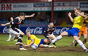Dundee's Nicky Riley takes on a packed Greenock Morton penalty box - Dundee v Greenock Morton, William Hill Scottish Cup 5th Round at Dens Park .. - © David Young - www.davidyoungphoto.co.uk - email: davidyoungphoto@gmail.com