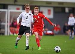 NEWPORT, WALES - Monday, October 14, 2019: Austria's Paul Koller (L) and Wales' Sam Pearson during an Under-19's International Friendly match between Wales and Austria at Dragon Park. (Pic by David Rawcliffe/Propaganda)