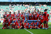 The Saracens players  celebrate victory during the Gallagher Premiership Rugby Final match between Exeter Chiefs and Saracens at Twickenham, Richmond, United Kingdom on 1 June 2019.