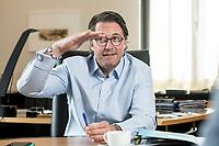 03 JUL 2019, BERLIN/GERMANY:<br /> Andreas Scheuer, CSU, Bundesminister fuer Verkehr und digitale Infrastruktur, waehrend einem Interview, in seinem Buero, Bundesministerium fuer Verkehr und digitale Infrastruktur<br /> IMAGE: 20190703-01-035