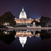 Night over the US Capitol Building. Washington, D.C.
