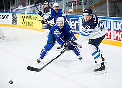 Valentin Claireaux of France vs Jani Lajunen of Finland during the 2017 IIHF Men's World Championship group B Ice hockey match between National Teams of Finland and France, on May 7, 2017 in Accorhotels Arena in Paris, France. Photo by Vid Ponikvar / Sportida