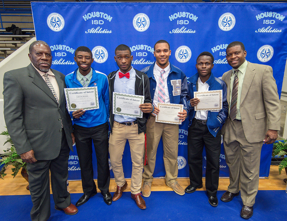 National Signing Day ceremonies for Houston ISD student athletes at the Pavilion at Forest Brook Middle School, February 3, 2016.