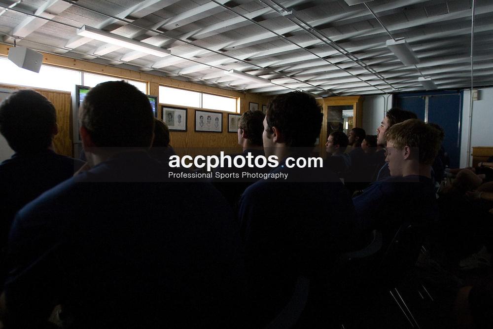 02 April 2008: North Carolina Tar Heels men's lacrosse during a film session in Chapel Hill, NC.