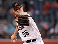 PHOENIX, AZ - APRIL 07:  Arizona Diamondbacks starting pitcher Shelby Miller #26 delivers a pitch in the first inning against the Cleveland Indians at Chase Field on April 7, 2017 in Phoenix, Arizona.  (Photo by Jennifer Stewart/Getty Images)