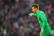 Newcastle United goalkeeper Martin Dubravka (12) instructs his team during the Premier League match between Tottenham Hotspur and Newcastle United at Wembley Stadium, London, England on 2 February 2019.