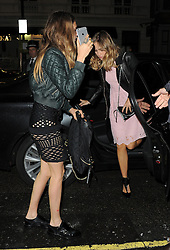 Cara Delevingne and Suki Waterhouse attends the Love Magazine miu miu London Fashion Week party at Loulou's in Mayfair, London, UK. 21/09/2015<br />