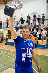 Nikola Vidic of Salonit with a Trophy after the final match of Slovenian National Volleyball Championships between ACH Volley Bled and Salonit Anhovo, on April 24, 2010, in Radovljica, Slovenia. ACH Volley defeated Salonit 3rd time in 3 Rounds and became Slovenian National Champion.  (Photo by Vid Ponikvar / Sportida)