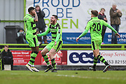 Forest Green Rovers Keanu Marsh-Brown(7) celebrates his goal with Forest Green Rovers Sam Wedgbury(8) during the Vanarama National League match between Forest Green Rovers and Woking at the New Lawn, Forest Green, United Kingdom on 25 February 2017. Photo by Shane Healey.