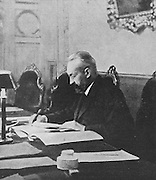 Prince Georgy Lvov, 1861-1925, president of the Provisional Government, photograph taken in the debating chamber, published in L'Illustration no.3868, 21st April 1917. Lvov was a Russian statesman and the first post-imperial prime minister of Russia, from 15 March to 21 July 1917. Picture by Manuel Cohen