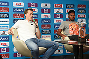 Karsten Warholm (NOR) and Abderrahman Samba (QAT) during press conference of Meeting de Paris 2018, Diamond League, at Hotel Marriott, in Paris, France, on June 29, 2018 - Photo Jean-Marie Hervio / KMSP / ProSportsImages / DPPI