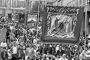 South Kirkby, Ferrymoor Riddings and Dearne Valley banners, 1983 Yorkshire Miner's Gala. Barnsley